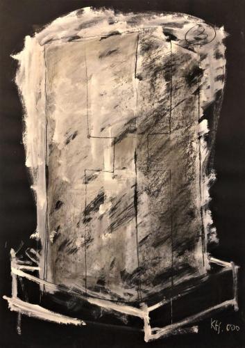 Kecskeméti: Monuments, 2000, 100 x 70 cm, chalk and gouache on paper