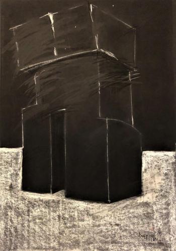 Kecskeméti: Monuments, 1998, 100 x 70 cm, chalk and gouache on paper